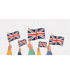 human hands hold english great britain flags vector image