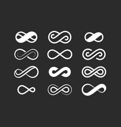 infinity symbol set infinite space sign loop vector image
