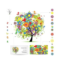 Infographic tree with funny birds Business card vector