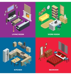 Interior Isometric Concept Icons Set vector