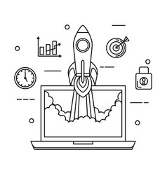laptop with rocket and business icons vector image