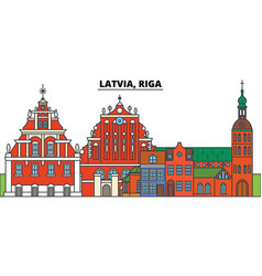 latvia riga city skyline architecture vector image