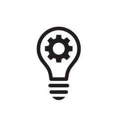 Lightbulb with gear cog concept black icon design vector