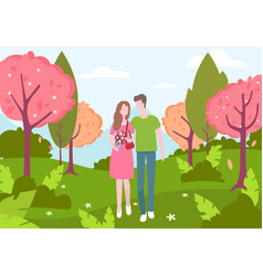 male and female walking in spring park vector image