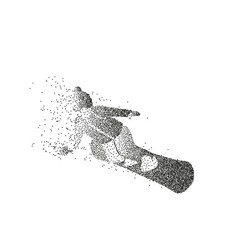 Male silhouette of a snowboarder made of particles vector