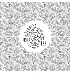 Malt and cone hop pattern craft beer brewery label vector