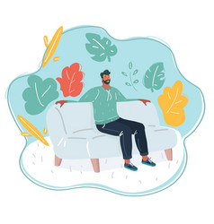 man relaxing on couch vector image