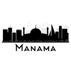 Manama City skyline black and white silhouette vector image