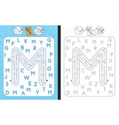 maze letter m vector image