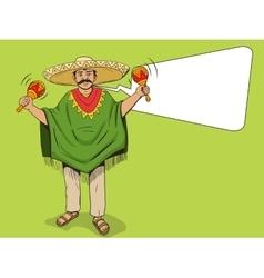 Mexican with maracas pop art style vector