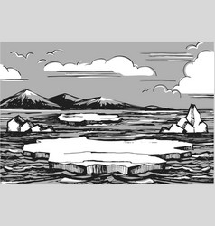 northern landscape sketch vector image