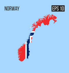 Norway map border with flag eps10 vector