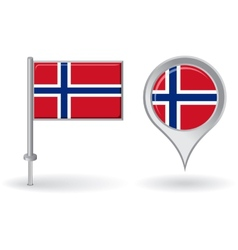 Norwegian pin icon and map pointer flag vector image