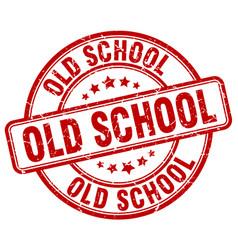 Old school red grunge round vintage rubber stamp vector