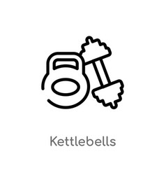 Outline kettlebells icon isolated black simple vector