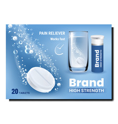 Painkiller tablets creative promo banner vector