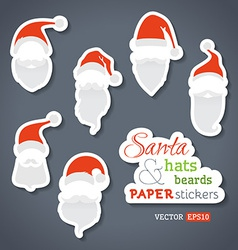 Paper Santa stickers vector image