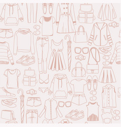 pattern with women fashion clothes and vector image