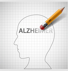 pencil erases the word alzheimer in the head vector image