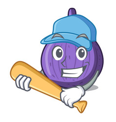 Playing baseball character fig fruit for healthy vector