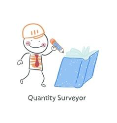 Quantity surveyor wrote in pencil in a book vector