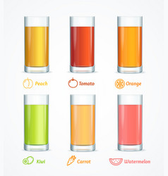 realistic detailed 3d different juice glass set vector image
