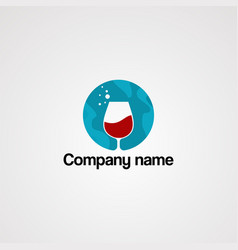 red drink on blue circle and drop water logo vector image