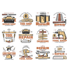Repair and service work tools workshop icons vector