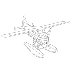 Retro seaplane vector image