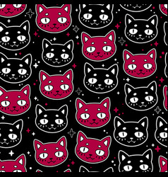 seamless pattern cute funny cats vector image
