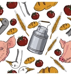 Seamless pattern with farm related items vector
