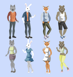 set anthropomorphic animals dressed vector image