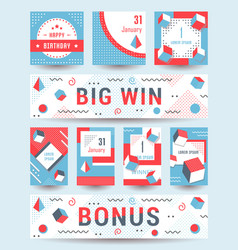 Set geometric pattern flyers and banners vector