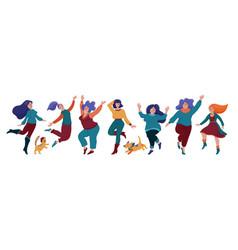set happy pretty women dancing in warm clothes vector image