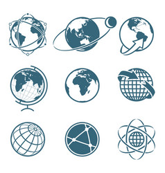 set of icon earth global communication concept vector image