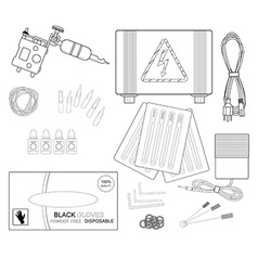 Set of professional tattoo equipment line-art vector