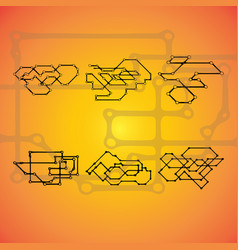 Set of six mechanical schemes engineering vector