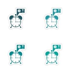 Set of stylish sticker on paper alarm clock money vector