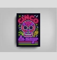sinco de mayo poster design neon style template vector image