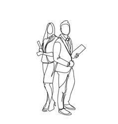 sketch business man and woman businesspeople vector image