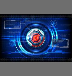 Tech circle blue background vector