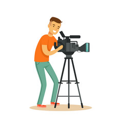 television video operator looking through vector image