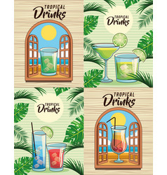 tropical cocktail drink set vector image
