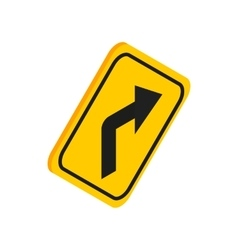 Turn right traffic sign icon isometric 3d style vector image