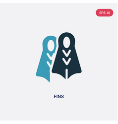 two color fins icon from summer concept isolated vector image