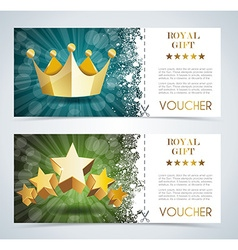 Voucher premium template with gold crown and gold vector image
