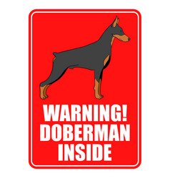 warning sign of doberman dog vector image