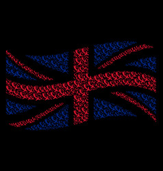waving united kingdom flag pattern of falling vector image