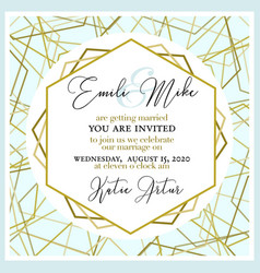 wedding invitation with abstract and gold pattern vector image