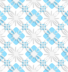 White detailed ornament layered on flat blue vector